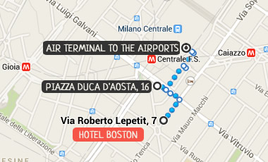 Hotel Boston Map.Hotel Boston Milan Official Site 2 Star Hotel In Milan